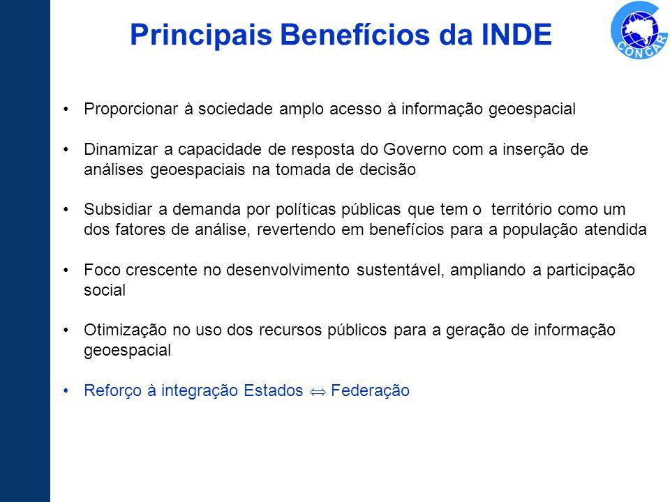 Principais Benefícios da INDE Proporcionar à sociedade amplo acesso à informação geoespacial Dinamizar a capacidade de resposta do Governo com a inser