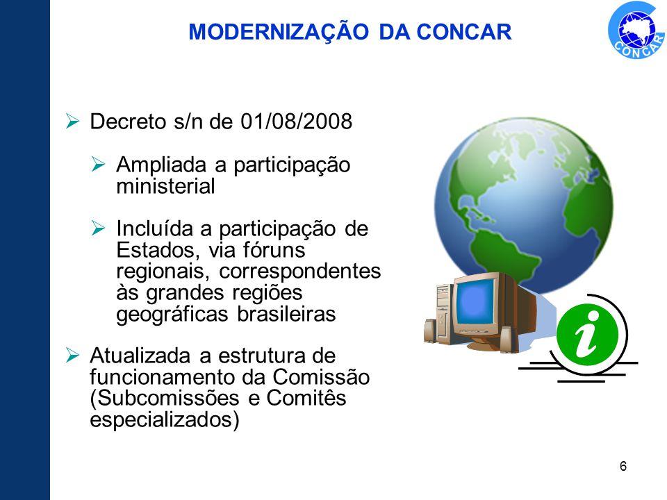 6 MODERNIZAÇÃO DA CONCAR Decreto s/n de 01/08/2008 Ampliada a participação ministerial Incluída a participação de Estados, via fóruns regionais, corre