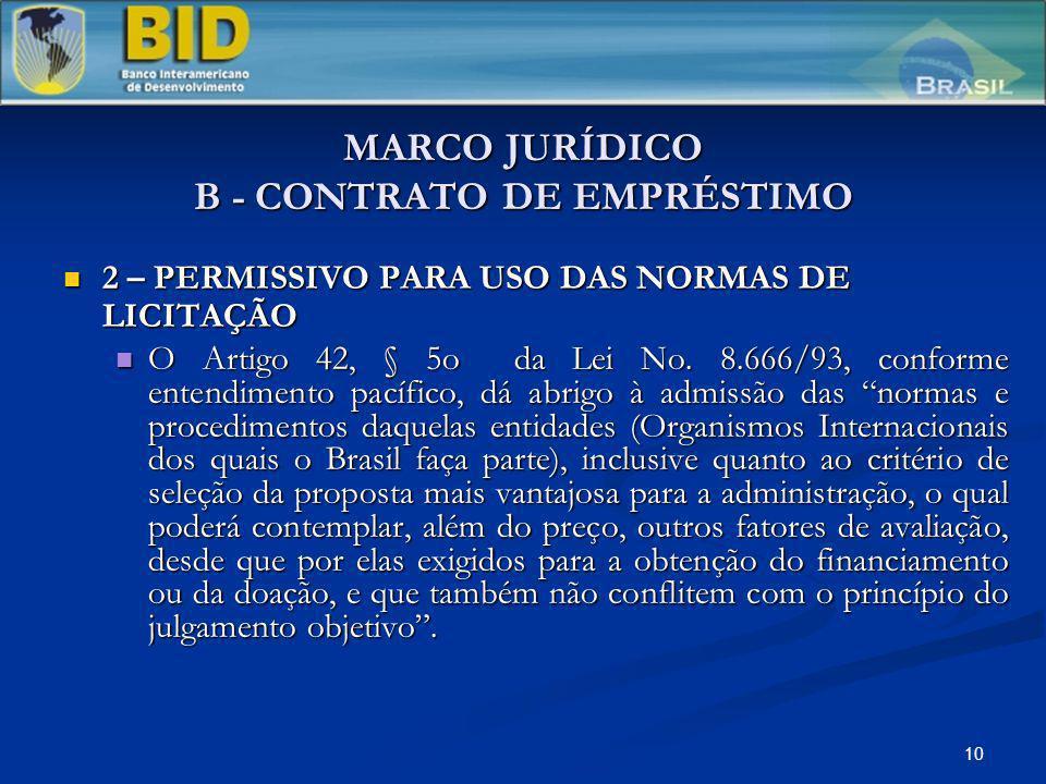10 MARCO JURÍDICO B - CONTRATO DE EMPRÉSTIMO 2 – PERMISSIVO PARA USO DAS NORMAS DE LICITAÇÃO 2 – PERMISSIVO PARA USO DAS NORMAS DE LICITAÇÃO O Artigo 42, § 5o da Lei No.