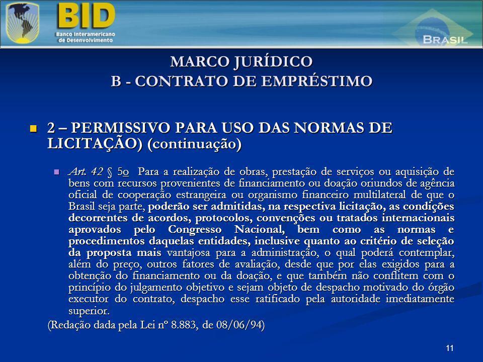 11 MARCO JURÍDICO B - CONTRATO DE EMPRÉSTIMO 2 – PERMISSIVO PARA USO DAS NORMAS DE LICITAÇÃO) (continuação) 2 – PERMISSIVO PARA USO DAS NORMAS DE LICITAÇÃO) (continuação) Art.
