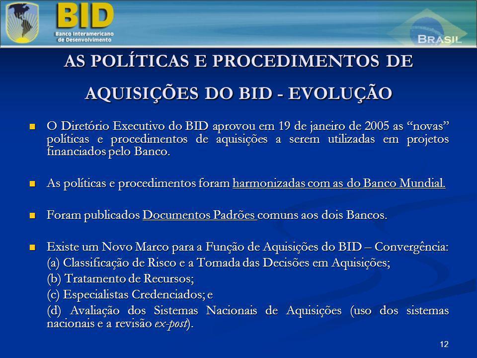 12 AS POLÍTICAS E PROCEDIMENTOS DE AQUISIÇÕES DO BID - EVOLUÇÃO O Diretório Executivo do BID aprovou em 19 de janeiro de 2005 as novas políticas e pro