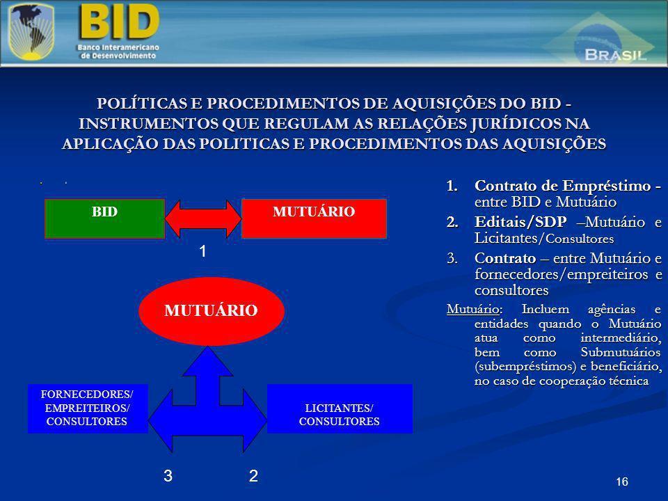 16 POLÍTICAS E PROCEDIMENTOS DE AQUISIÇÕES DO BID - INSTRUMENTOS QUE REGULAM AS RELAÇÕES JURÍDICOS NA APLICAÇÃO DAS POLITICAS E PROCEDIMENTOS DAS AQUI