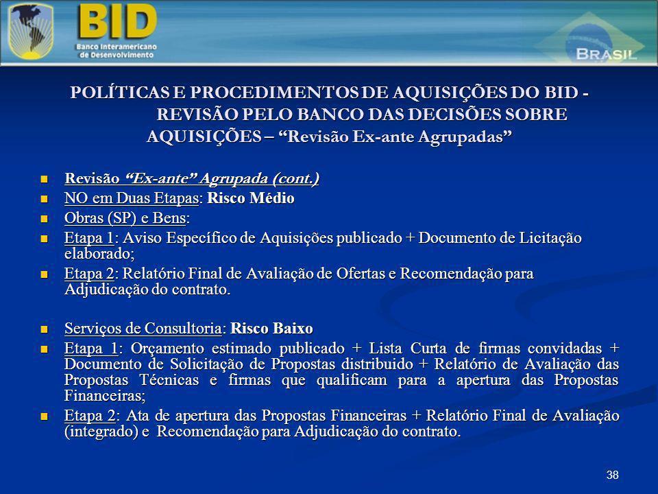 38 POLÍTICAS E PROCEDIMENTOS DE AQUISIÇÕES DO BID - REVISÃO PELO BANCO DAS DECISÕES SOBRE AQUISIÇÕES – Revisão Ex-ante Agrupadas Revisão Ex-ante Agrup
