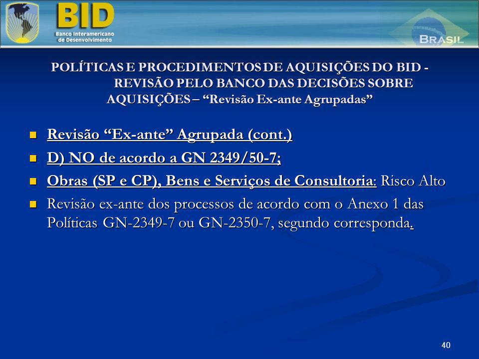 40 POLÍTICAS E PROCEDIMENTOS DE AQUISIÇÕES DO BID - REVISÃO PELO BANCO DAS DECISÕES SOBRE AQUISIÇÕES – Revisão Ex-ante Agrupadas Revisão Ex-ante Agrup