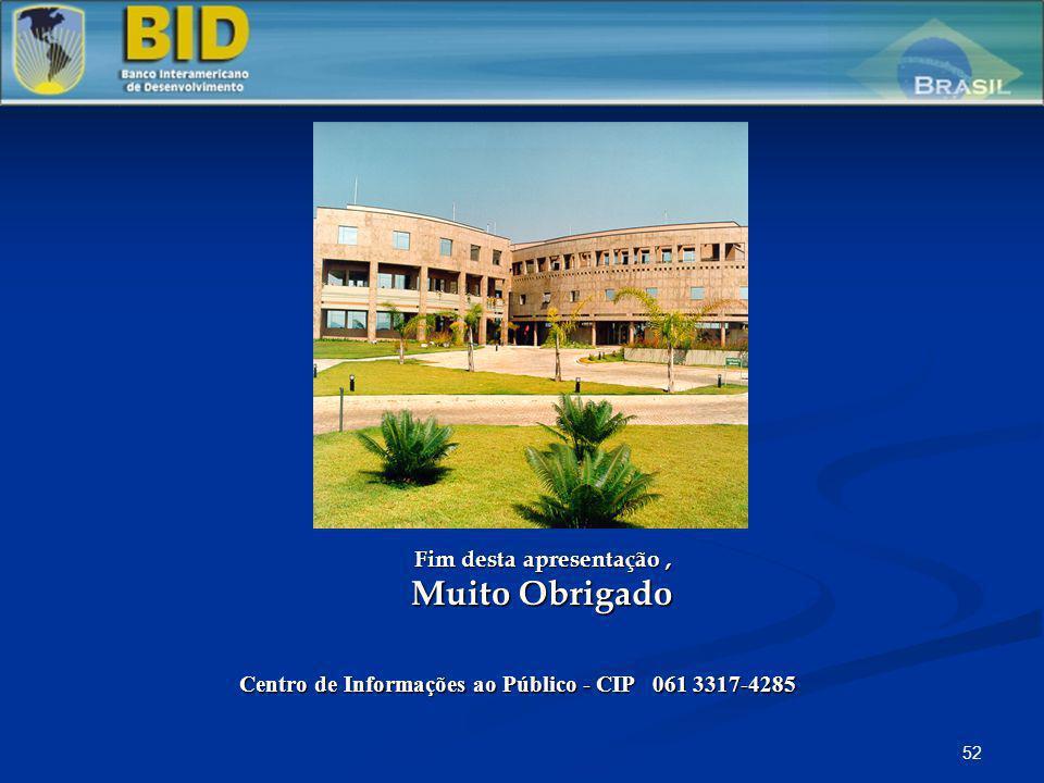 52 Fim desta apresentação, Muito Obrigado Centro de Informações ao Público - CIP 061 3317-4285 Painel sobre Temas Fiduciários - Aquisições SEAIN, BID,