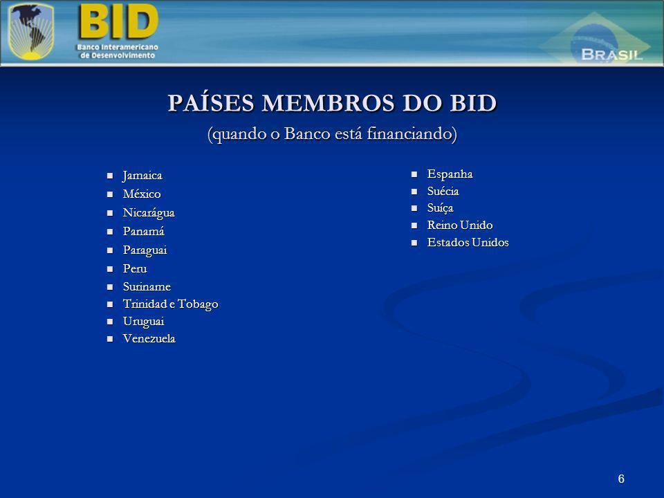6 PAÍSES MEMBROS DO BID (quando o Banco está financiando) Jamaica Jamaica México México Nicarágua Nicarágua Panamá Panamá Paraguai Paraguai Peru Peru