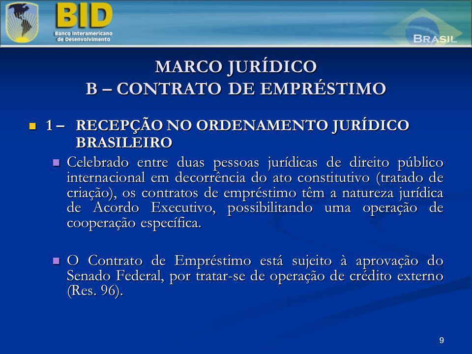9 MARCO JURÍDICO B – CONTRATO DE EMPRÉSTIMO 1 – RECEPÇÃO NO ORDENAMENTO JURÍDICO BRASILEIRO 1 – RECEPÇÃO NO ORDENAMENTO JURÍDICO BRASILEIRO Celebrado entre duas pessoas jurídicas de direito público internacional em decorrência do ato constitutivo (tratado de criação), os contratos de empréstimo têm a natureza jurídica de Acordo Executivo, possibilitando uma operação de cooperação específica.