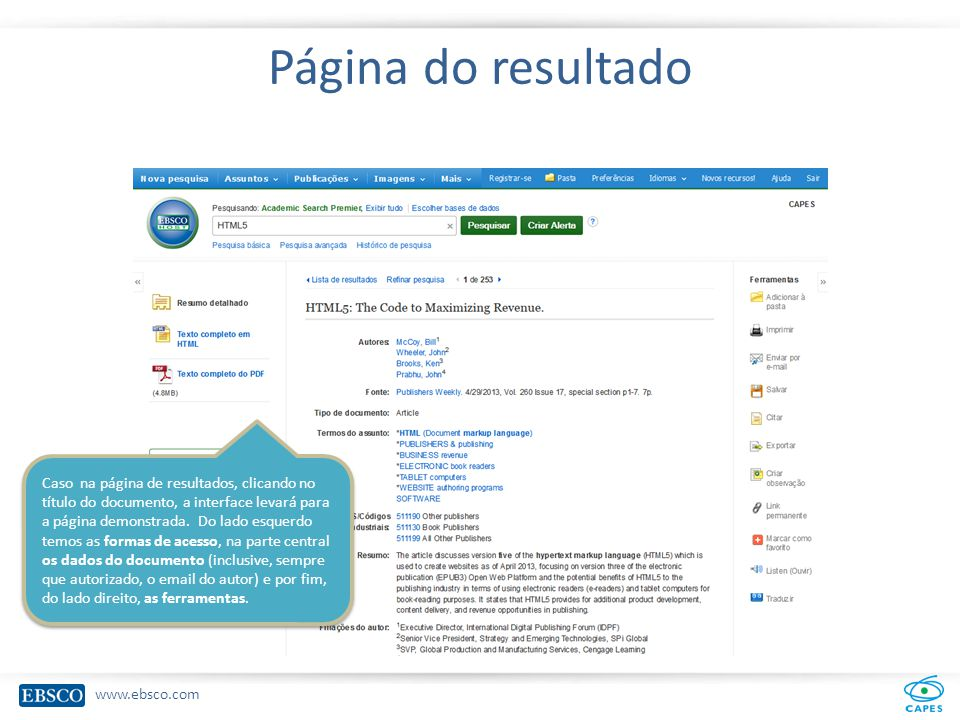 www.ebsco.com Página do resultado Caso na página de resultados, clicando no título do documento, a interface levará para a página demonstrada.