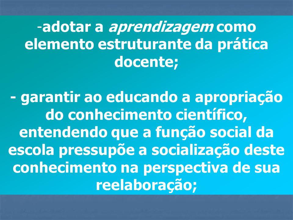 - respeitar os diferentes rítmos de aprendizagem do aluno, a partir da compreensão e utilização de diferentes estratégias de ensino e práticas avaliativas emancipatórias;