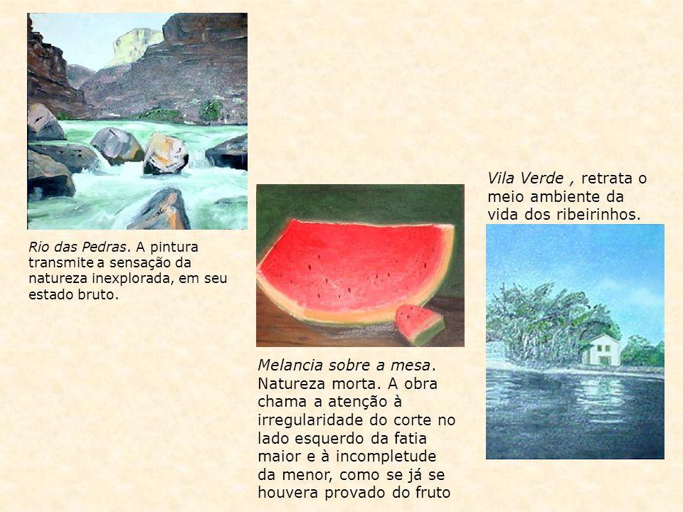 Vila Verde, retrata o meio ambiente da vida dos ribeirinhos. Melancia sobre a mesa. Natureza morta. A obra chama a atenção à irregularidade do corte n