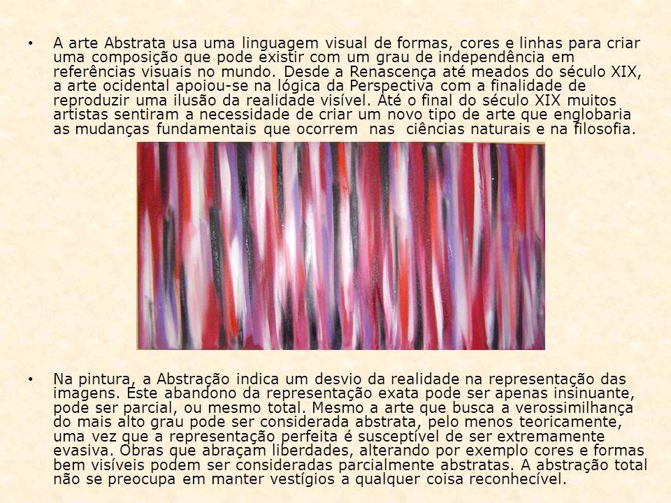 A arte Abstrata usa uma linguagem visual de formas, cores e linhas para criar uma composição que pode existir com um grau de independência em referênc