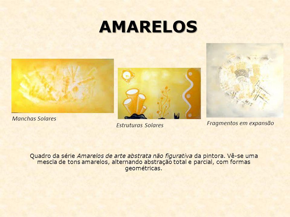 AMARELOS Quadro da série Amarelos de arte abstrata não figurativa da pintora. Vê-se uma mescla de tons amarelos, alternando abstração total e parcial,