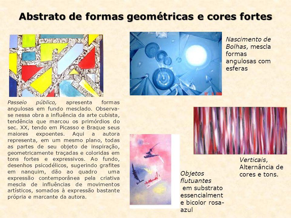 Abstrato de formas geométricas e cores fortes Passeio público, apresenta formas angulosas em fundo mesclado.