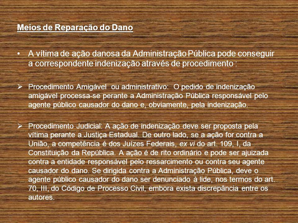 Meios de Reparação do Dano A vítima de ação danosa da Administração Pública pode conseguir a correspondente indenização através de procedimento : Proc