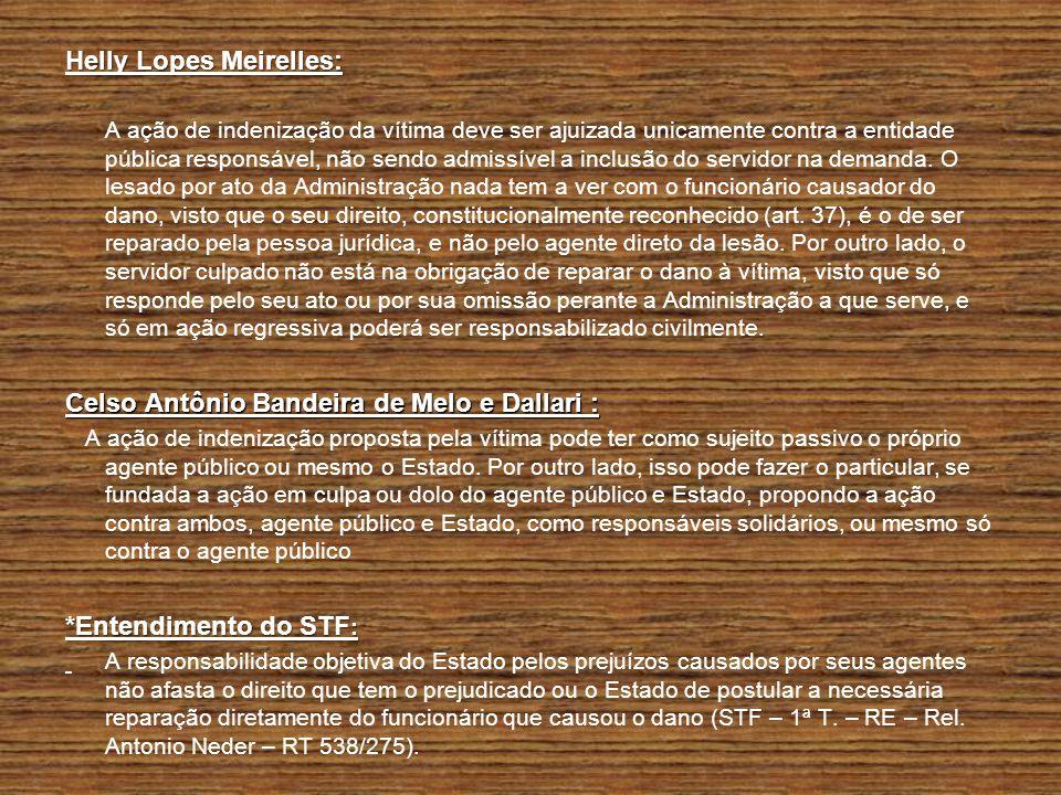 Helly Lopes Meirelles: A ação de indenização da vítima deve ser ajuizada unicamente contra a entidade pública responsável, não sendo admissível a incl