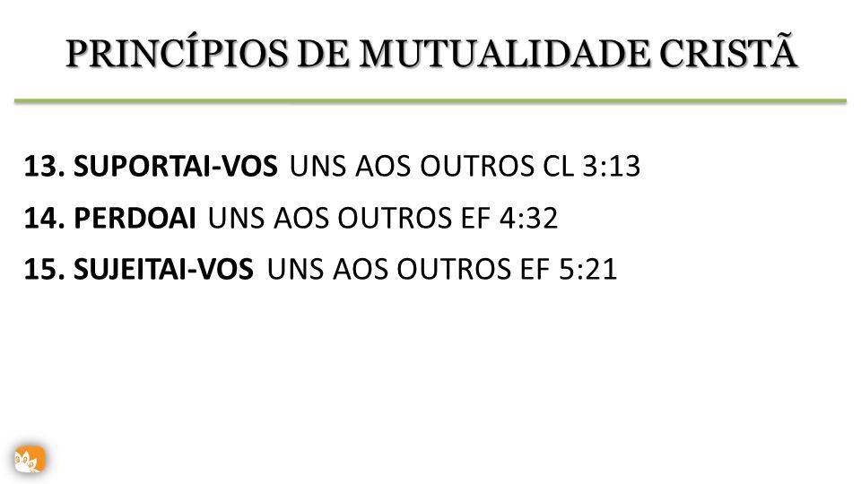 PRINCÍPIOS DE MUTUALIDADE CRISTÃ 13.SUPORTAI-VOS UNS AOS OUTROS CL 3:13 14.