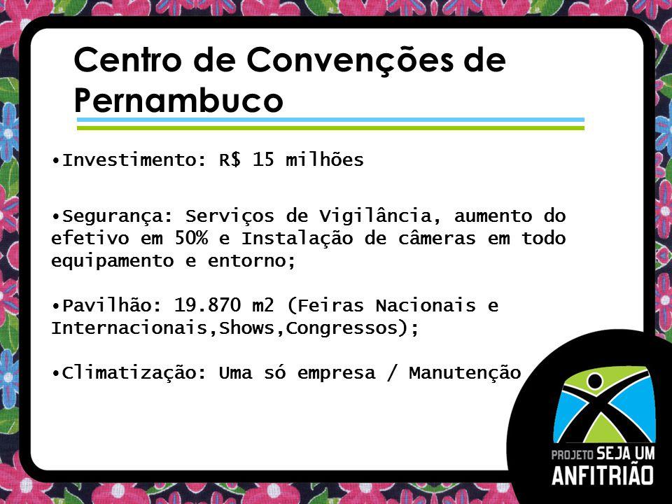 Centro de Convenções de Pernambuco Investimento: R$ 15 milhões Segurança: Serviços de Vigilância, aumento do efetivo em 50% e Instalação de câmeras em todo equipamento e entorno; Pavilhão: 19.870 m2 (Feiras Nacionais e Internacionais,Shows,Congressos); Climatização: Uma só empresa / Manutenção