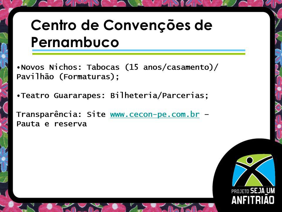 Centro de Convenções de Pernambuco Novos Nichos: Tabocas (15 anos/casamento)/ Pavilhão (Formaturas); Teatro Guararapes: Bilheteria/Parcerias; Transpar