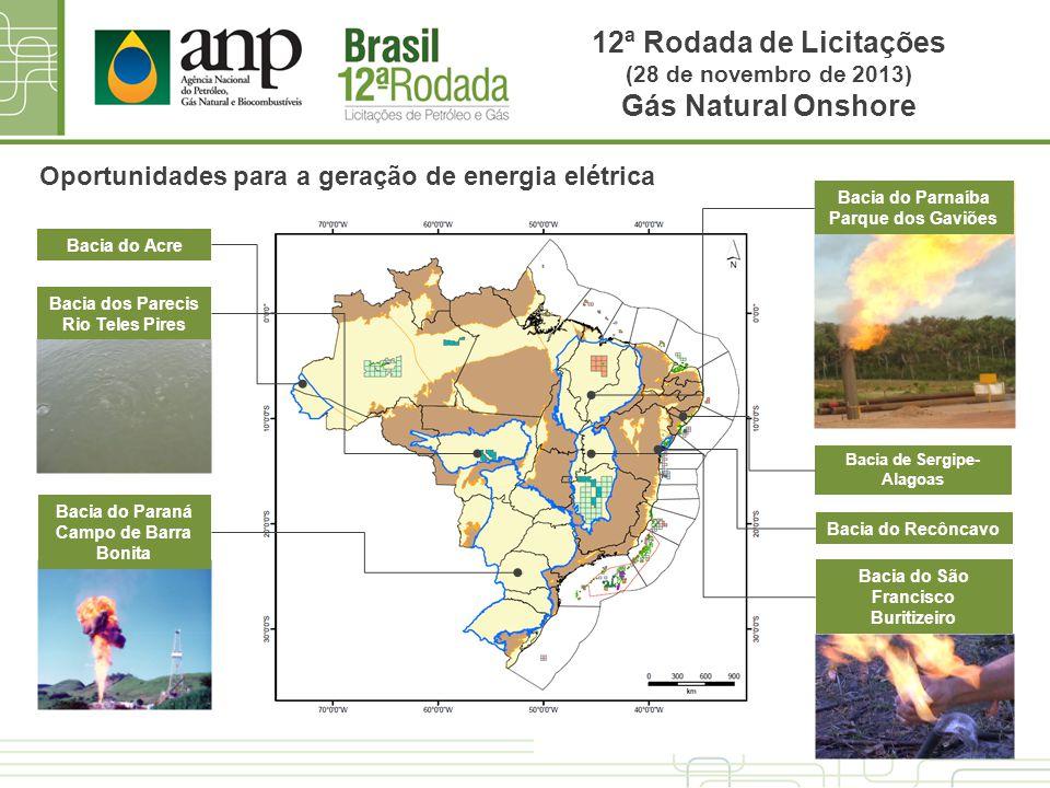 Oportunidades para a geração de energia elétrica Bacia do Acre Bacia dos Parecis Rio Teles Pires Bacia do Paraná Campo de Barra Bonita Bacia do São Fr