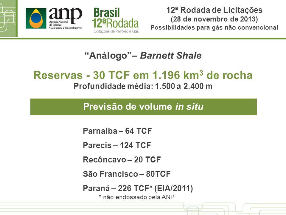 Reservas - 30 TCF em 1.196 km 3 de rocha Profundidade média: 1.500 a 2.400 m Análogo– Barnett Shale Previsão de volume in situ Parnaíba – 64 TCF Parec