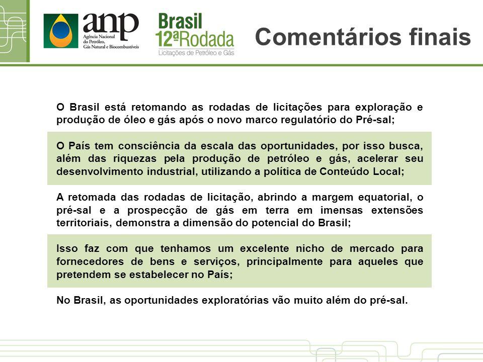 Comentários finais O Brasil está retomando as rodadas de licitações para exploração e produção de óleo e gás após o novo marco regulatório do Pré-sal;