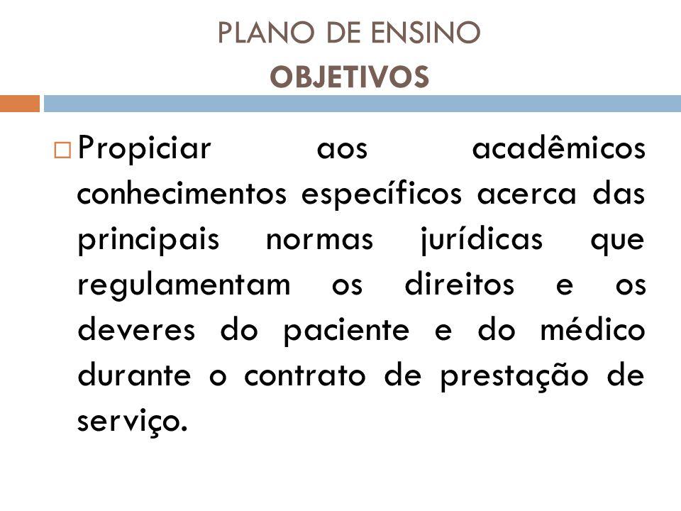 PLANO DE ENSINO OBJETIVOS Propiciar aos acadêmicos conhecimentos específicos acerca das principais normas jurídicas que regulamentam os direitos e os