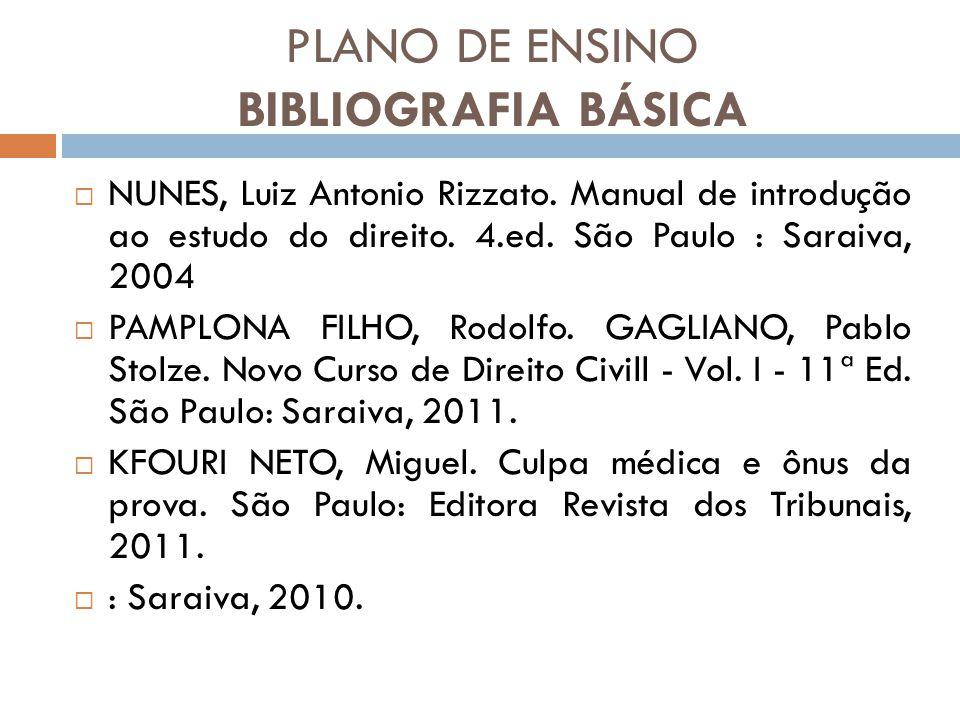 PLANO DE ENSINO BIBLIOGRAFIA BÁSICA NUNES, Luiz Antonio Rizzato. Manual de introdução ao estudo do direito. 4.ed. São Paulo : Saraiva, 2004 PAMPLONA F
