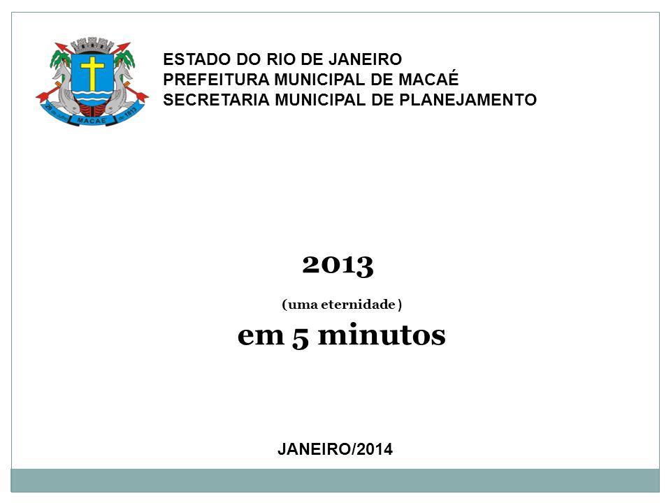 JANEIRO/2014 ESTADO DO RIO DE JANEIRO PREFEITURA MUNICIPAL DE MACAÉ SECRETARIA MUNICIPAL DE PLANEJAMENTO 2013 (uma eternidade ) em 5 minutos
