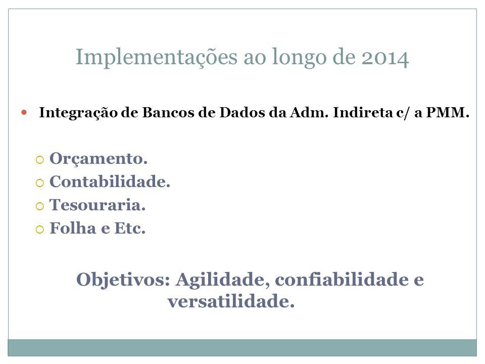 Integração de Bancos de Dados da Adm. Indireta c/ a PMM. Orçamento. Contabilidade. Tesouraria. Folha e Etc. Objetivos: Agilidade, confiabilidade e ver