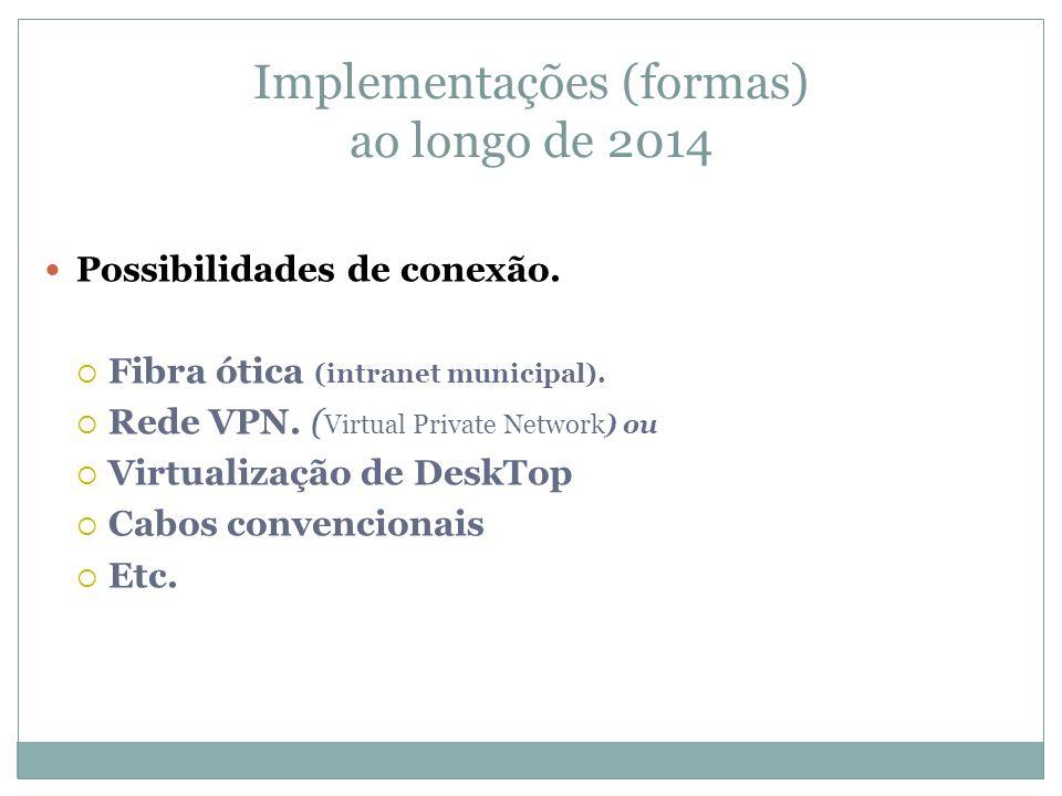 Possibilidades de conexão. Fibra ótica (intranet municipal). Rede VPN. ( Virtual Private Network) ou Virtualização de DeskTop Cabos convencionais Etc.