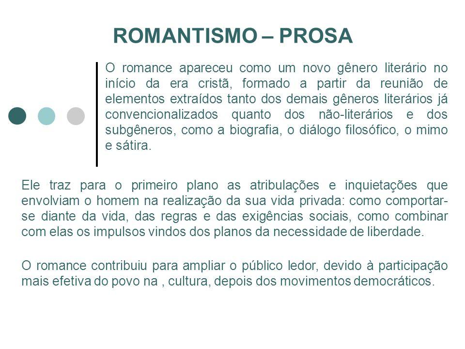 ROMANTISMO – PROSA O romance apareceu como um novo gênero literário no início da era cristã, formado a partir da reunião de elementos extraídos tanto