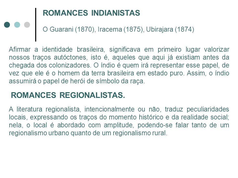 ROMANCES INDIANISTAS O Guarani (1870), Iracema (1875), Ubirajara (1874) Afirmar a identidade brasileira, significava em primeiro lugar valorizar nosso