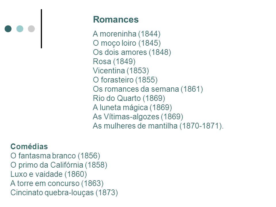 Joaquim Manuel de Macedo (1820 - 1882) Jornalista, professor e o primeiro escritor popular brasileiro Publicou o romance a Moreninha (1844) Marco na história da prosa romântica Trama leve e movimentada Linguagem simples e coloquial Tipos humanos que circulavam pelo Rio de Janeiro