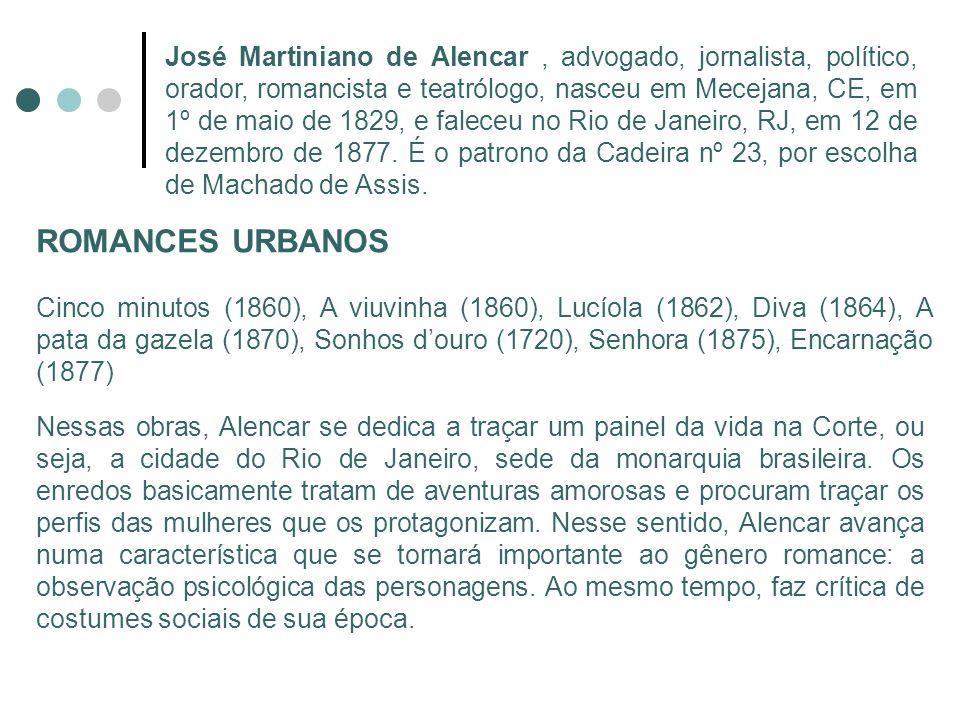 José Martiniano de Alencar, advogado, jornalista, político, orador, romancista e teatrólogo, nasceu em Mecejana, CE, em 1º de maio de 1829, e faleceu