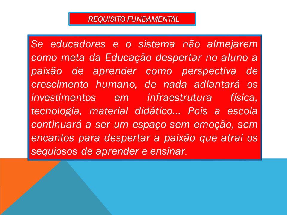 Se educadores e o sistema não almejarem como meta da Educação despertar no aluno a paixão de aprender como perspectiva de crescimento humano, de nada adiantará os investimentos em infraestrutura física, tecnologia, material didático...