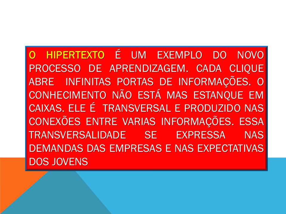 O HIPERTEXTO É UM EXEMPLO DO NOVO PROCESSO DE APRENDIZAGEM.
