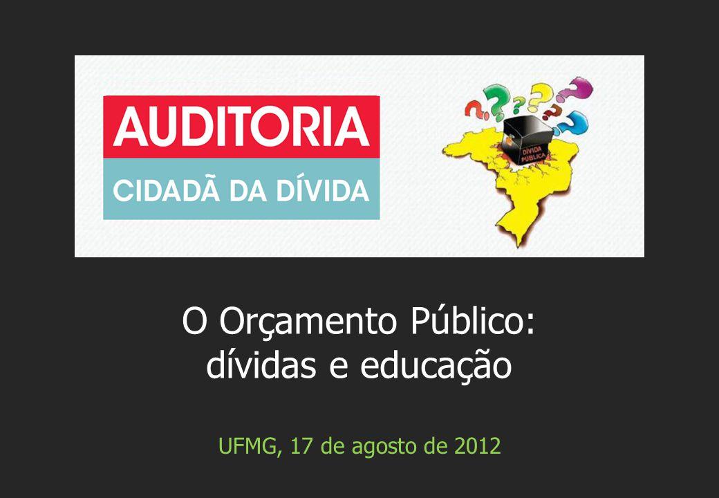 UFMG, 17 de agosto de 2012 O Orçamento Público: dívidas e educação
