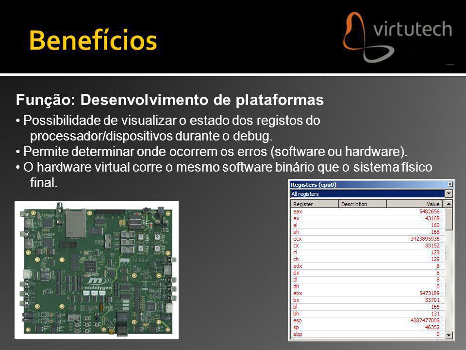 Função: Desenvolvimento de plataformas Possibilidade de visualizar o estado dos registos do processador/dispositivos durante o debug. Permite determin