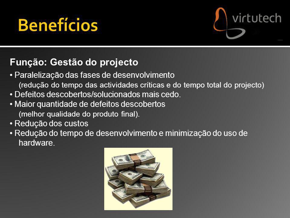Função: Gestão do projecto Paralelização das fases de desenvolvimento (redução do tempo das actividades críticas e do tempo total do projecto) Defeito