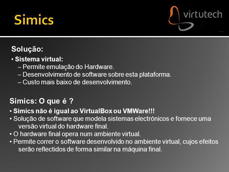 Simics: O que é ? Simics não é igual ao VirtualBox ou VMWare!!! Solução de software que modela sistemas electrónicos e fornece uma versão virtual do h