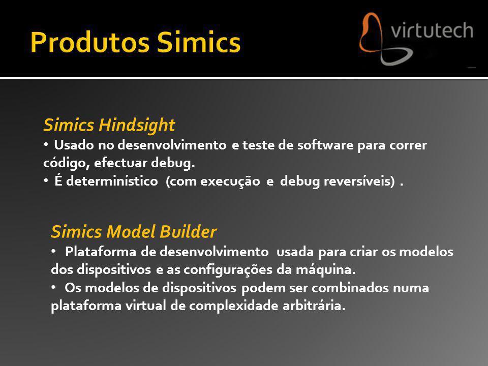 Simics Hindsight Usado no desenvolvimento e teste de software para correr código, efectuar debug. É determinístico (com execução e debug reversíveis).