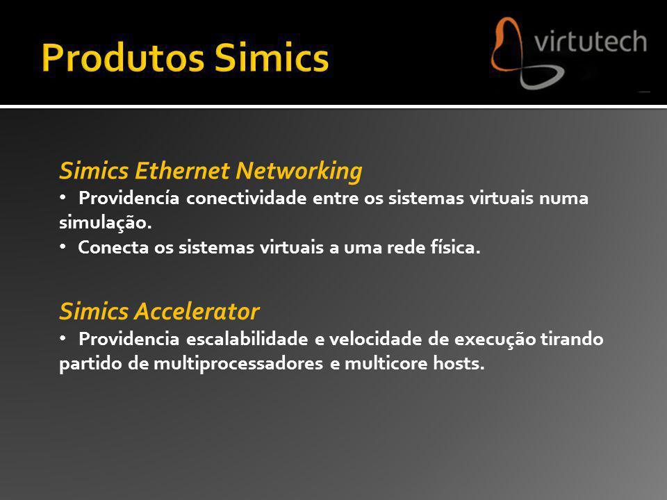 Simics Ethernet Networking Providencía conectividade entre os sistemas virtuais numa simulação. Conecta os sistemas virtuais a uma rede física. Simics