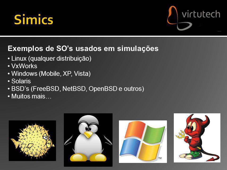 Exemplos de SOs usados em simulações Linux (qualquer distribuição) VxWorks Windows (Mobile, XP, Vista) Solaris BSDs (FreeBSD, NetBSD, OpenBSD e outros