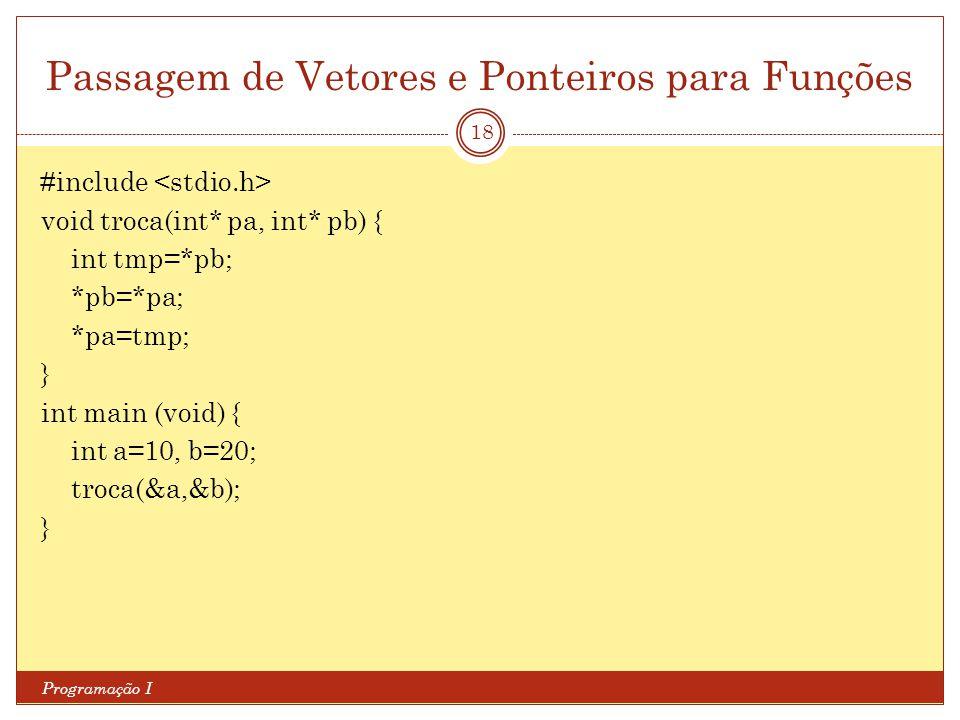 Passagem de Vetores e Ponteiros para Funções Programação I 18 #include void troca(int* pa, int* pb) { int tmp=*pb; *pb=*pa; *pa=tmp; } int main (void)