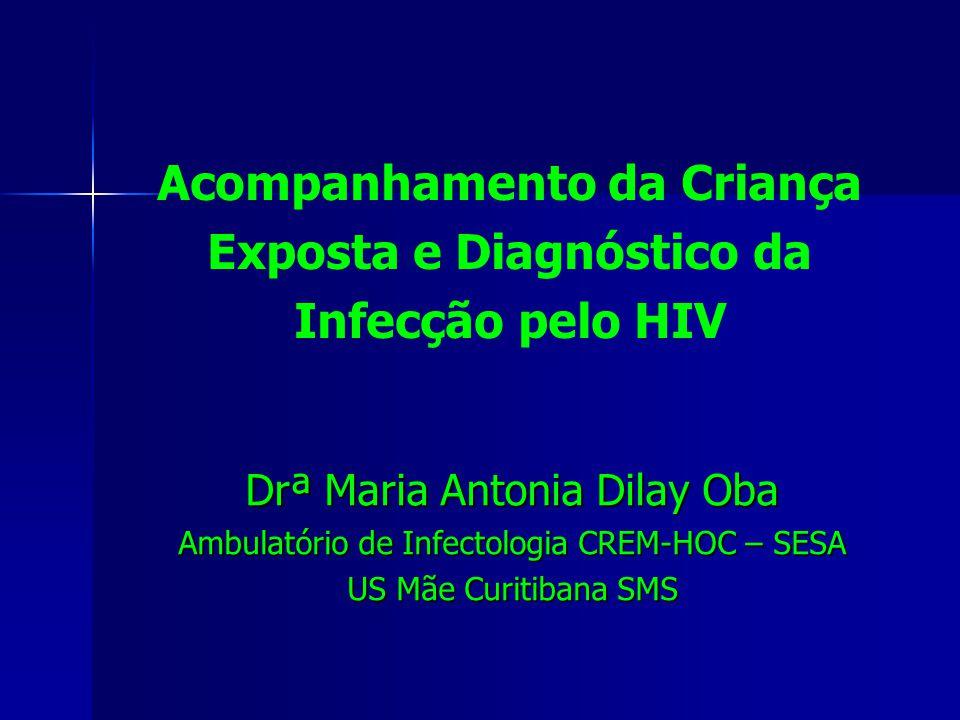 Acompanhamento da Criança Exposta e Diagnóstico da Infecção pelo HIV Drª Maria Antonia Dilay Oba Ambulatório de Infectologia CREM-HOC – SESA US Mãe Curitibana SMS