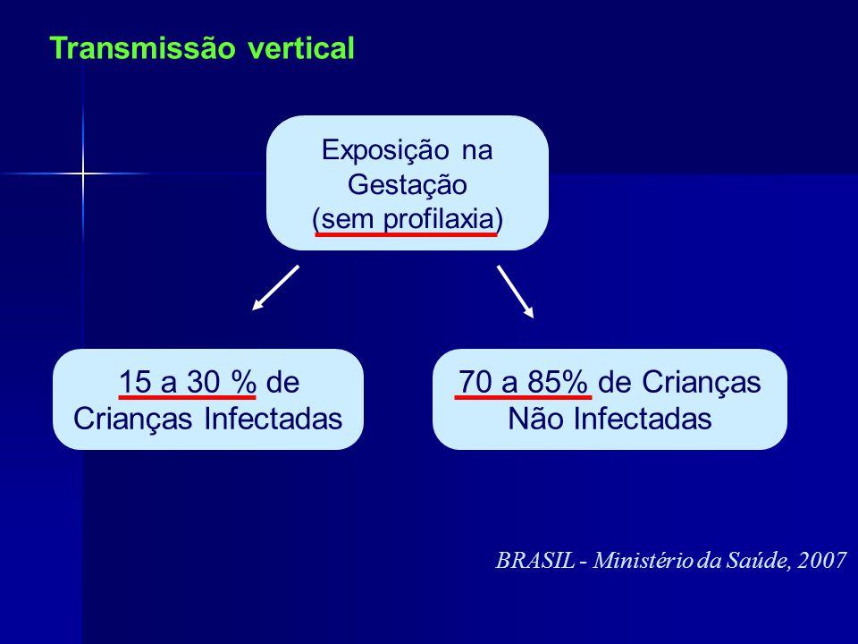 70 a 85% de Crianças Não Infectadas 15 a 30 % de Crianças Infectadas Exposição na Gestação (sem profilaxia) BRASIL - Ministério da Saúde, 2007 Transmissão vertical