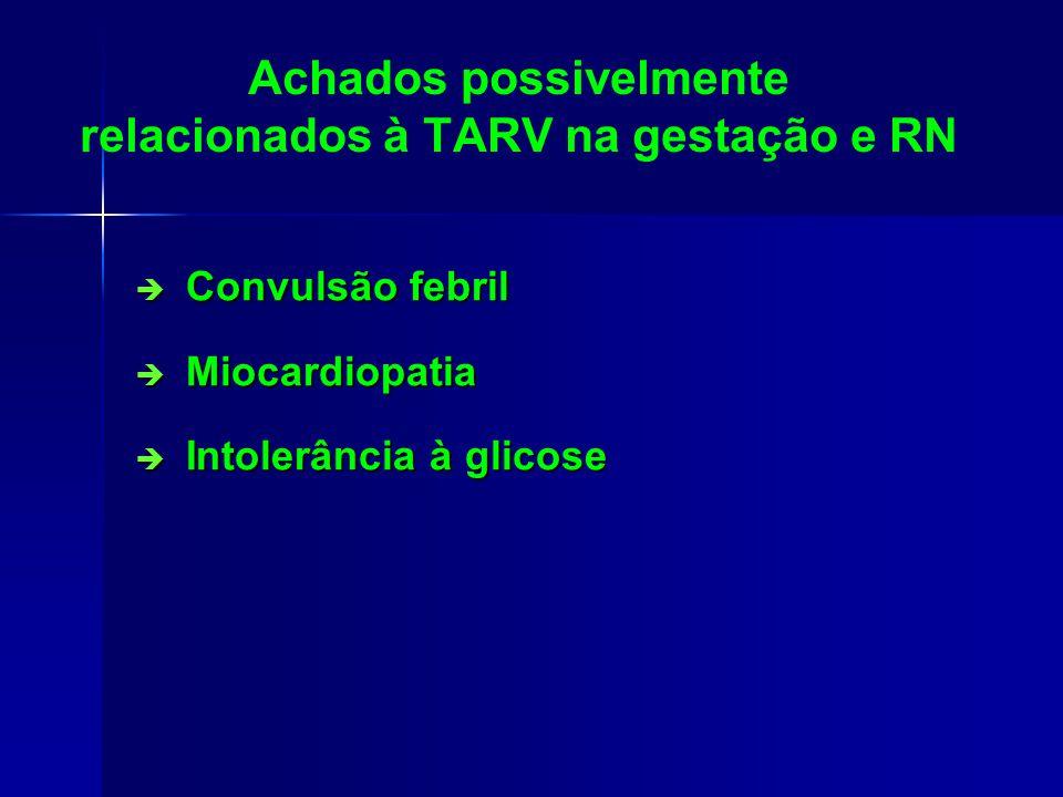 Achados possivelmente relacionados à TARV na gestação e RN Convulsão febril Convulsão febril Miocardiopatia Miocardiopatia Intolerância à glicose Intolerância à glicose