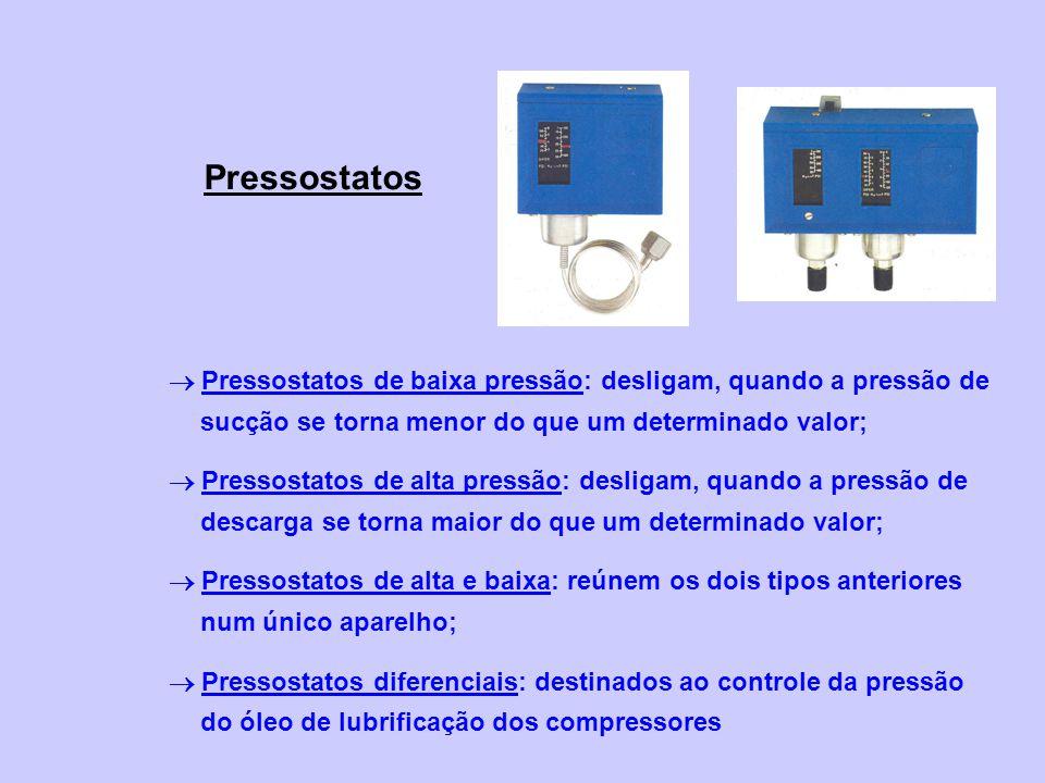 Pressostatos Pressostatos de baixa pressão: desligam, quando a pressão de sucção se torna menor do que um determinado valor; Pressostatos de alta pres