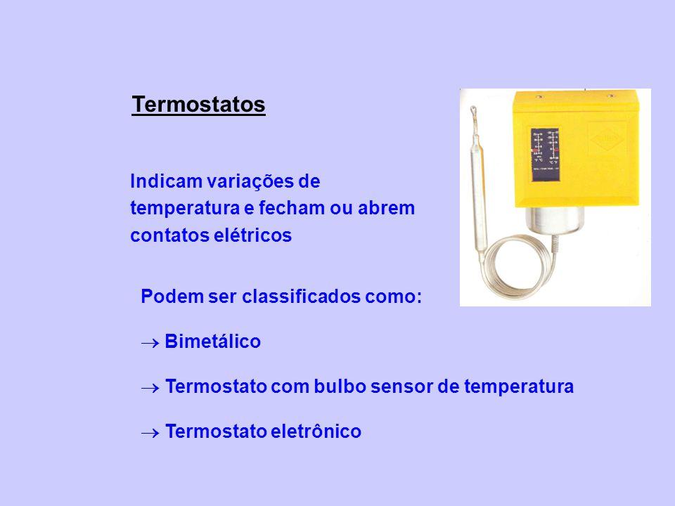 Termostatos Indicam variações de temperatura e fecham ou abrem contatos elétricos Podem ser classificados como: Bimetálico Termostato com bulbo sensor