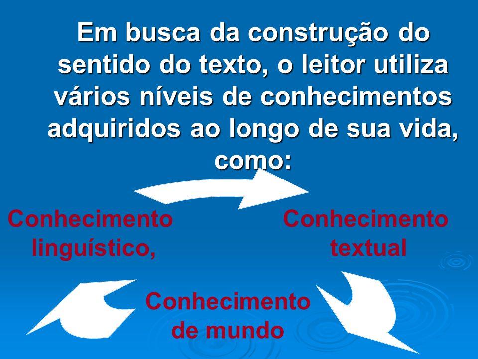Em busca da construção do sentido do texto, o leitor utiliza vários níveis de conhecimentos adquiridos ao longo de sua vida, como: KLEIMAN, A. Texto e
